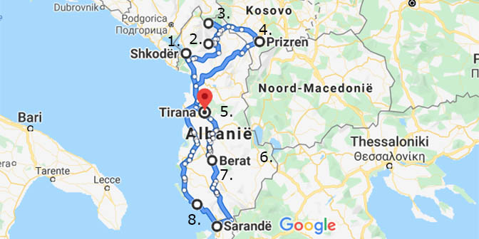 route albanie kaart