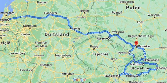 route kaart zuid-polen slowakije