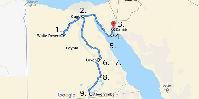 kaart egypte bezienswaardigheden