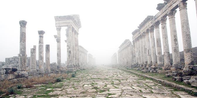 perspectief in de mist