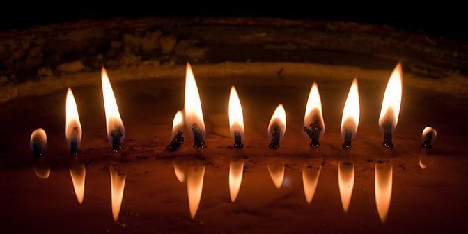 reflectie kaars tibet