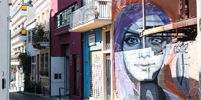 street art athene vrouw