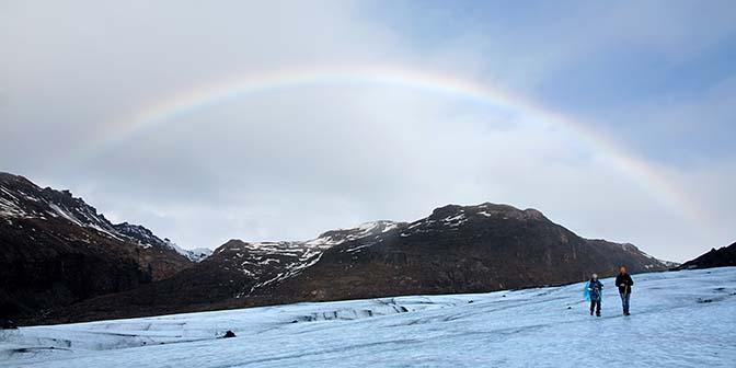 Solheimajokull gletsjer regenboog