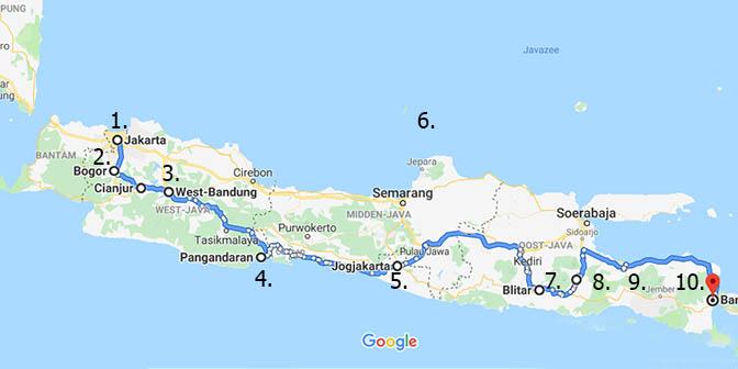 route java kaart