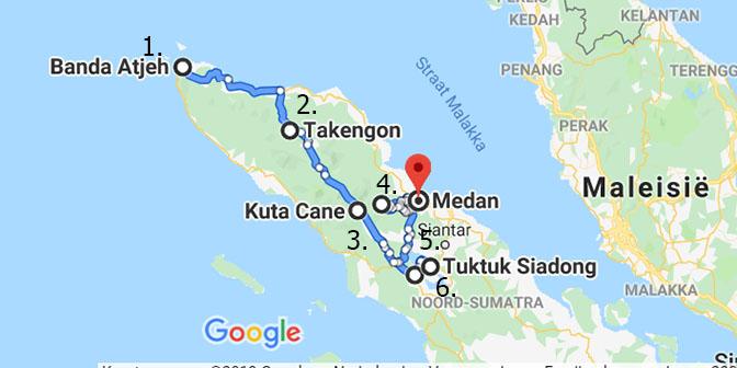 route kaart sumatra