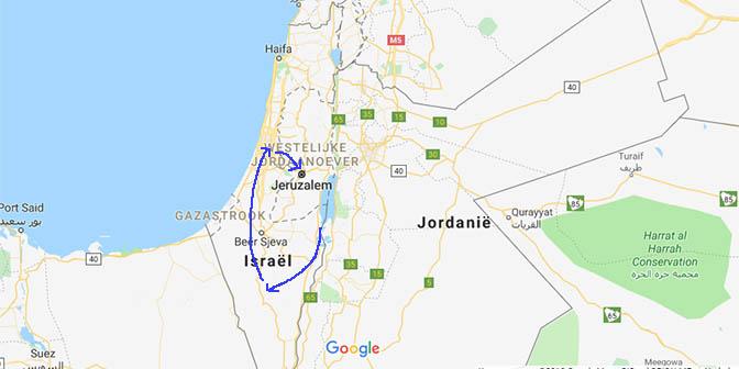 kaart route israel