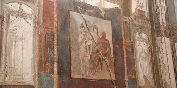 muurschildering in herculaneum