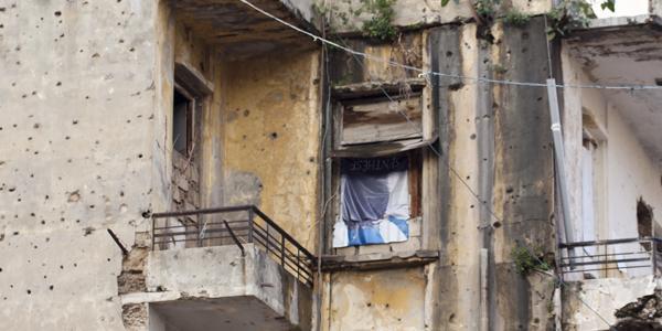 huis met kogelgaten in Beirut