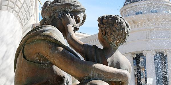 fontein in het oude centrum van Skopje