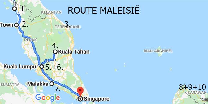 route kaart maleisie