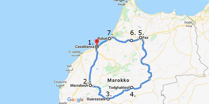 marokko kaart 2 weken