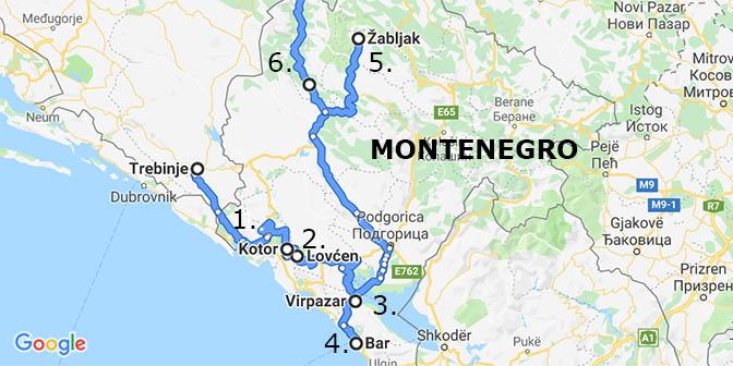 montenegro kaart route