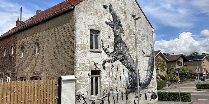 roa en resto muurschildering