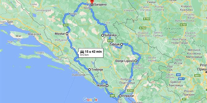 roastrip balkan kaart montenegro en bosnie