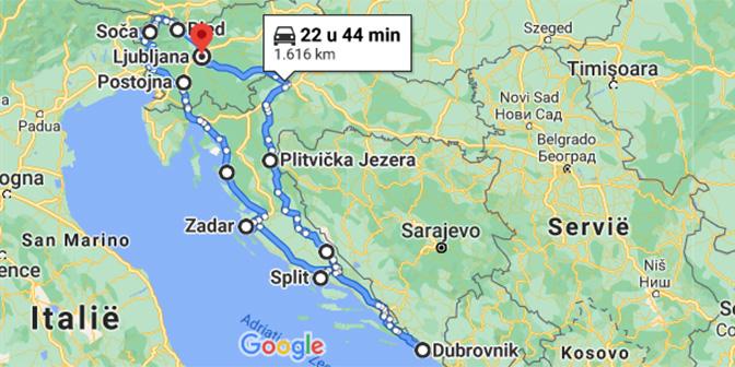 roadtrip balkan kaart slovenie en kroatie