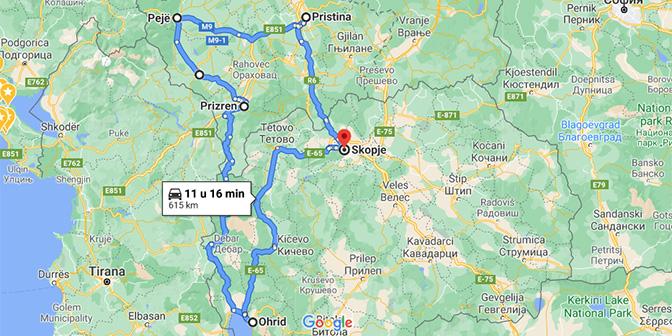 roadtrip balkan kaart noord-macedonie en kosovo