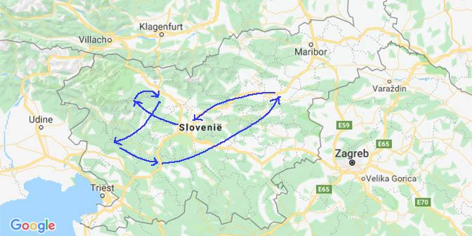 route kaart slovenie