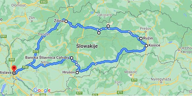 route slowakije kaart roadtrip