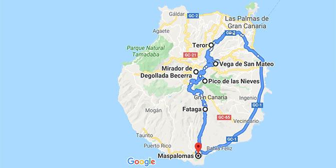 kaart roadtrip noord gran canaria