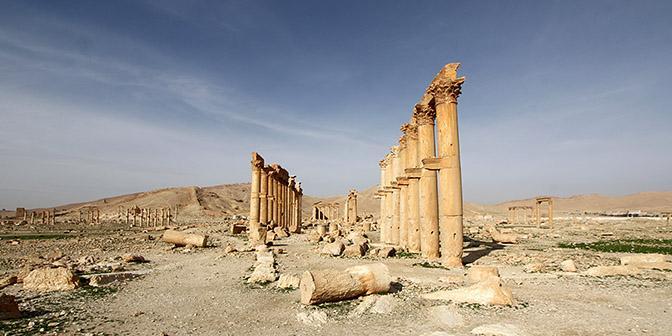 zuilen van pamyra in syrie