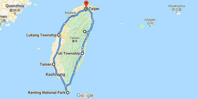 route taiwan kaart