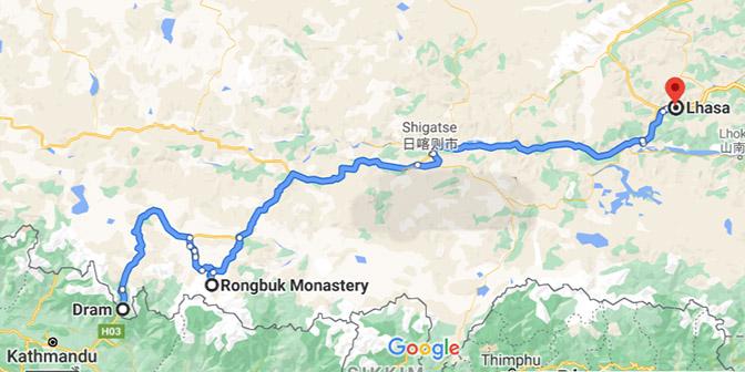 nepal tibet route kaart