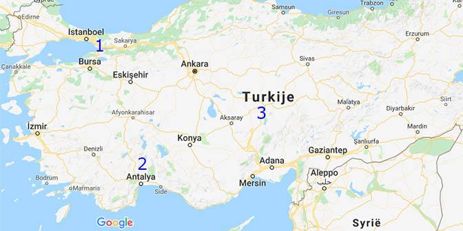 bezienswaardigheden kaart turkije