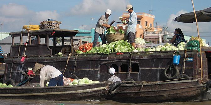drijvende markt vietnam